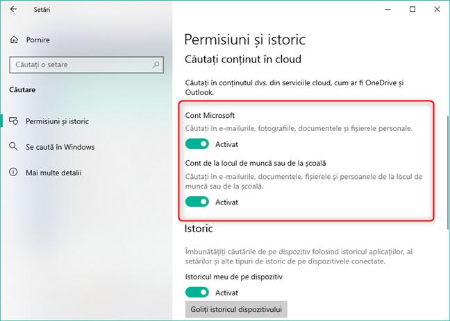 Permiterea sau interzicerea accesului Căutării la serviciile tale din cloud