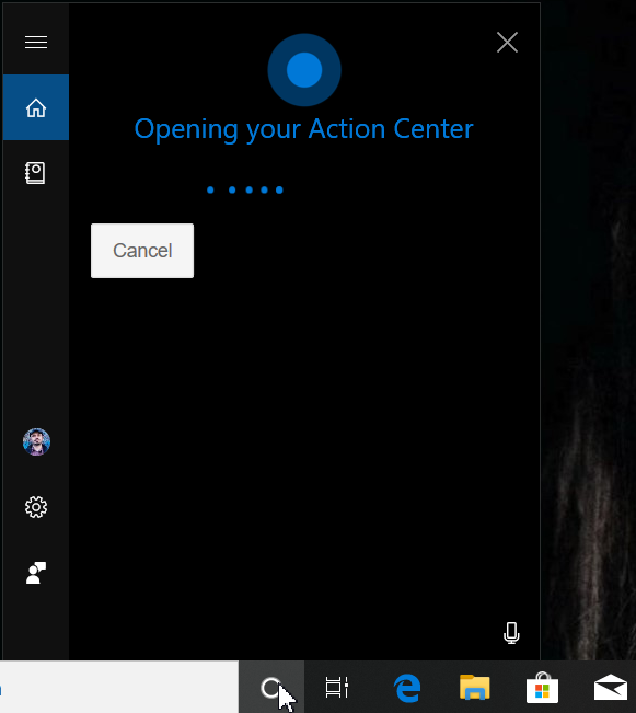 Deschide Centrul Acțiuni din Windows 10 folosind Cortana în limba engleză