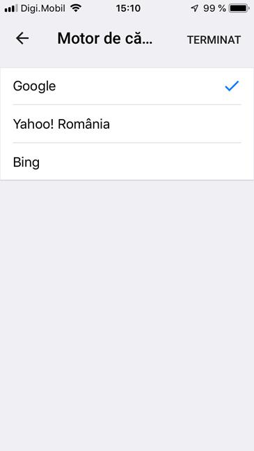 Selectează motorul de căutare pentru Google Chrome pentru iOS