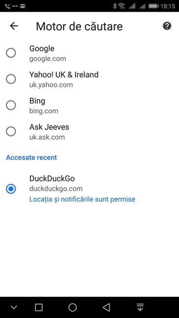 Selectează DuckDuckGo ca motor de căutare pentru Google Chrome