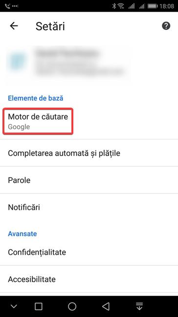 Accesează setările de motor de căutare în Google Chrome pentru Android