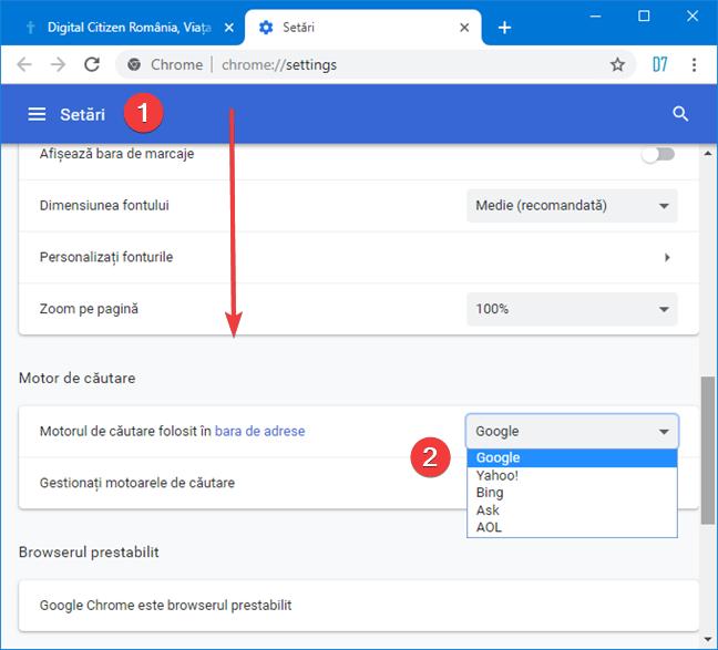 Alege motorul de căutare implicit folosit de Google Chrome în Windows