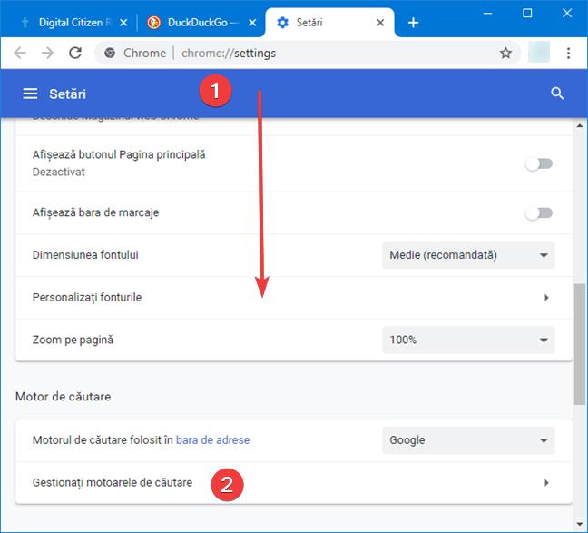 Gestionează motoarele de căutare din Google Chrome