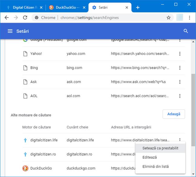 Setează motorul de căutare implicit, din Google Chrome pentru Windows