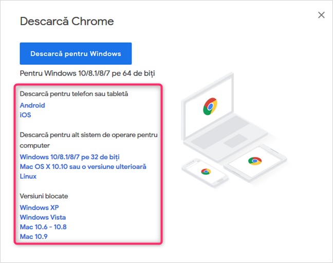 Google Chrome for other operating systems, desktop and mobile