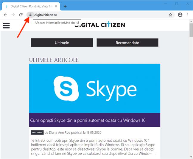Apasă pe lacăt pentru a Afișa informații privind site-ul