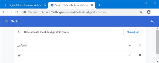 Accesează cookie-urile stocate de un anumit site web