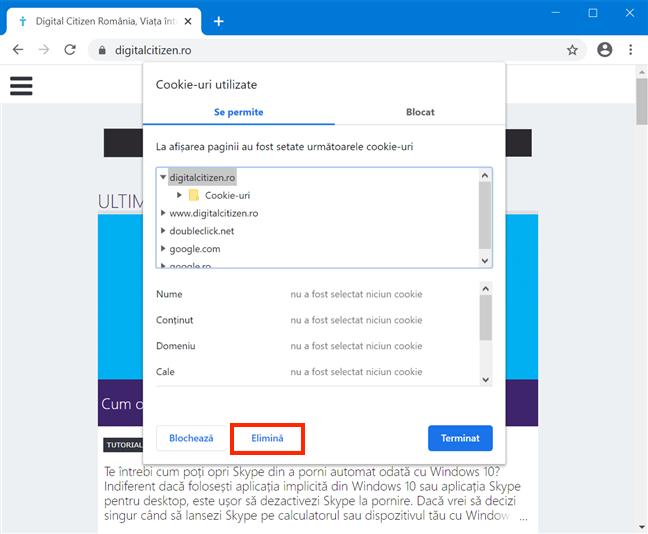 Șterge cookie-urile unui serviciu din Google Chrome