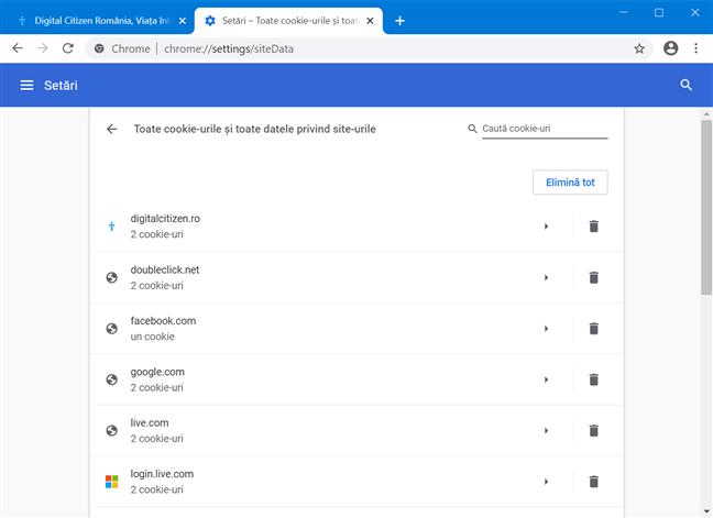 Vezi toate cookie-urile și datele site-ului din Google Chrome