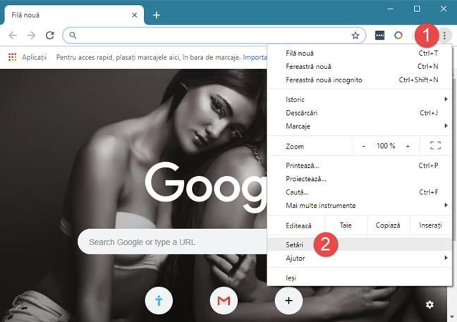 Deschiderea setărilor din Google Chrome