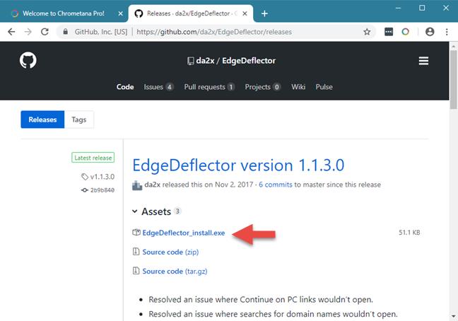 Legătura de descărcare pentru Edge Deflector, pe GitHub