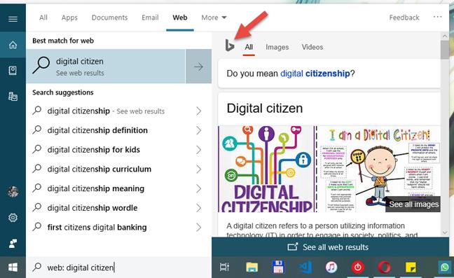 Căutarea Windows 10 încă arată previzualizări din Bing