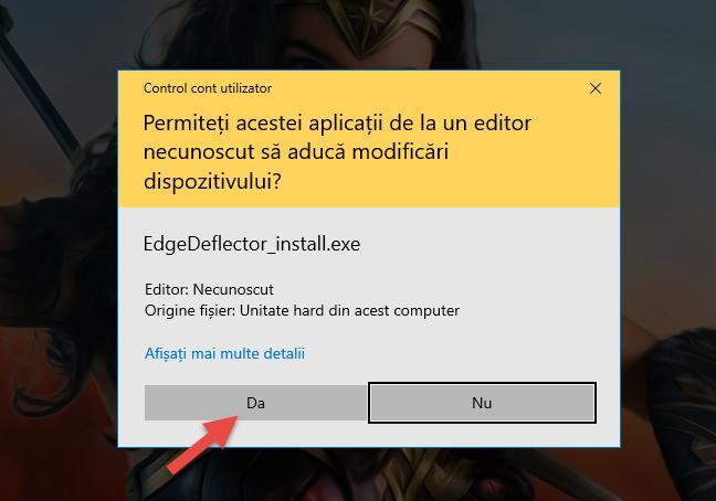 Aprobarea instalării pentru Edge Deflector