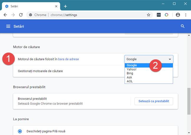 Setarea Google ca motor de căutare implicit în Google Chrome
