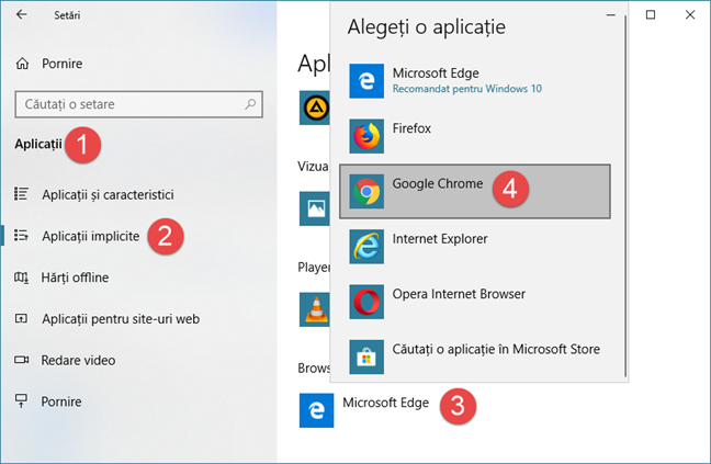 Setarea Google Chrome ca browser web implicit în Windows 10