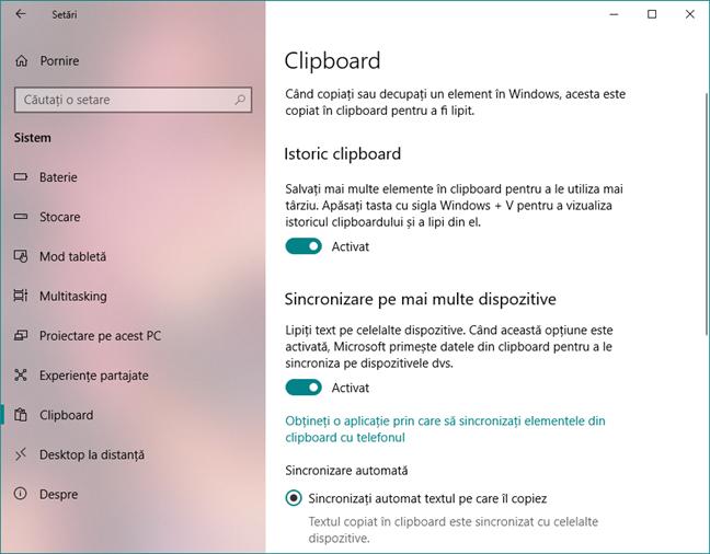 Facilitățile și setările clipboard-ului din Windows 10 cu October 2018 Update