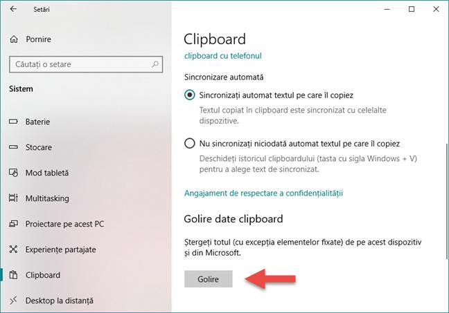Ștergerea datelor stocate în clipboard