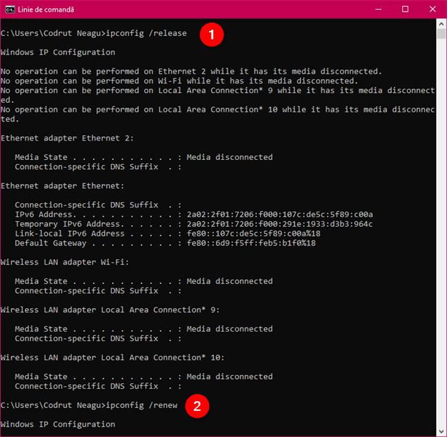 Rularea comenzilor ipconfig /release și ipconfig /renew pentru a reseta adresa IP