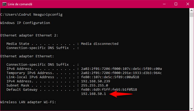 Executarea comenzii ipconfig pentru a identifica adresa IP a router-ului