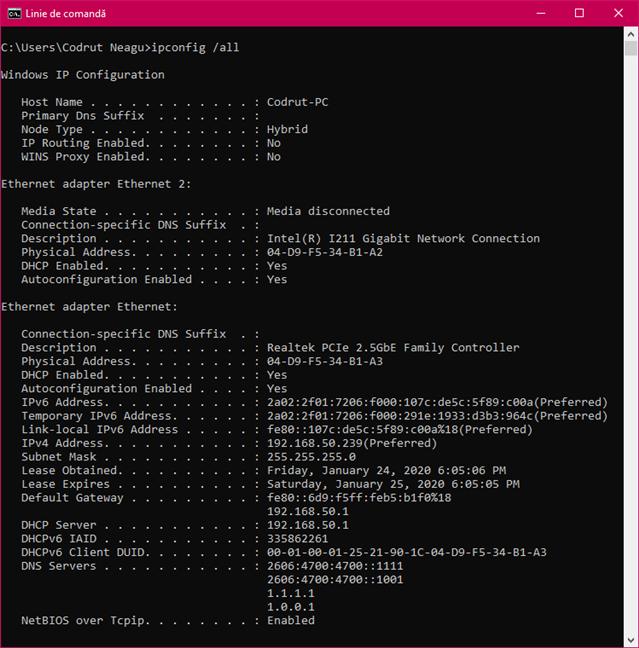 Executarea comenzii ipconfig /all pentru a obține informații detaliate despre adaptoarele de rețea