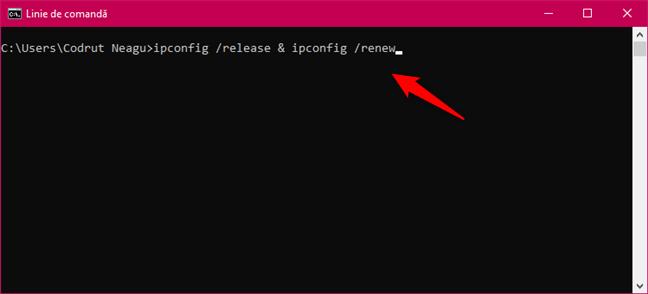 Executarea ipconfig /release & ipconfig /renew scriind un singur rând în CMD