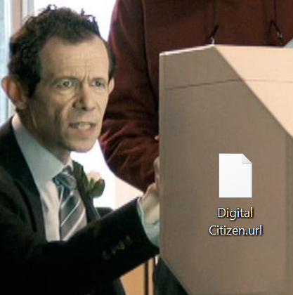 Pictograma implicită către pagini web arată ca un document gol