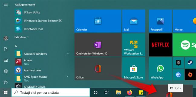 Crearea unei scurtături către o aplicație, pe bara de activități din Windows 10