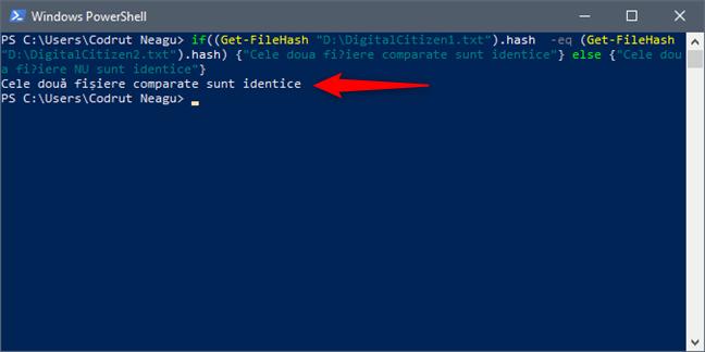 Mesajul afișat de PowerShell atunci când două fișiere sunt identice