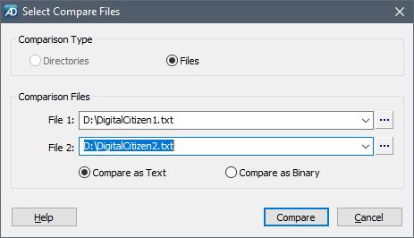 Utilizarea AptDiff pentru a alege cele două fișiere de comparat