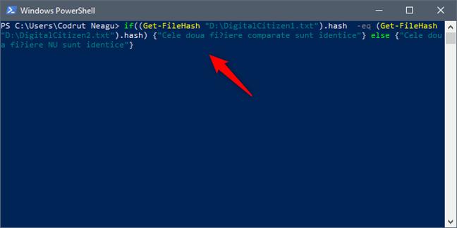 Executarea comenzii de comparație a fișierelor în PowerShell