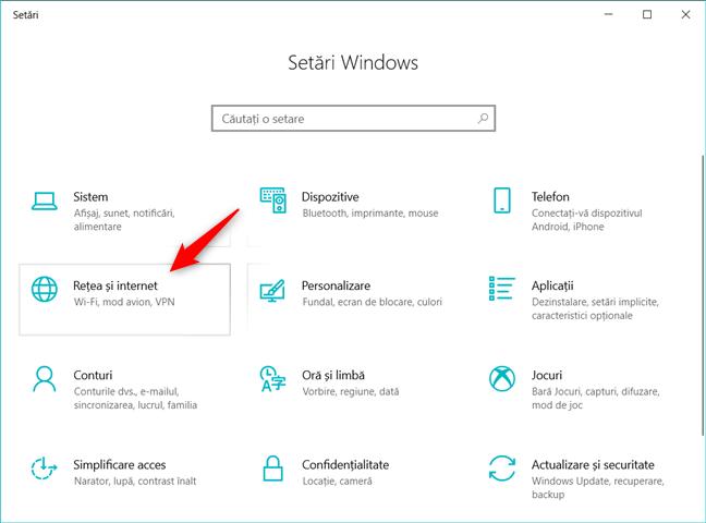 Categoria Rețea și internet din Setările Windows 10