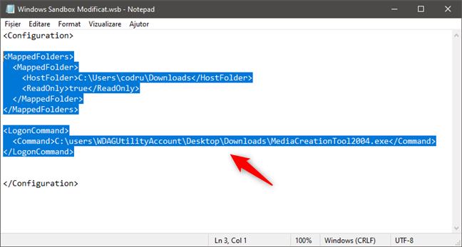 Executarea unui fișier executabil în Windows Sandbox la pornirea sa