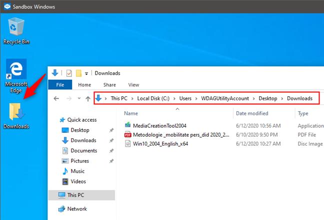Cum arată un folder partajat în Windows Sandbox