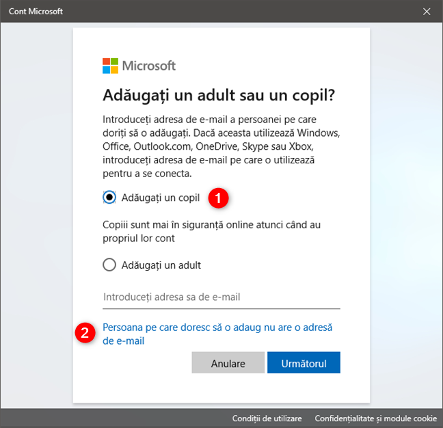 Opțiunea de a crea un cont de copil atunci când nu are o adresă de e-mail