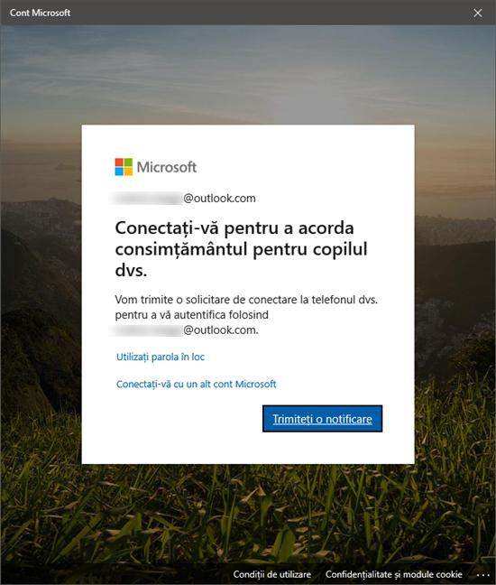 Autentificarea la contul Microsoft al părintelui