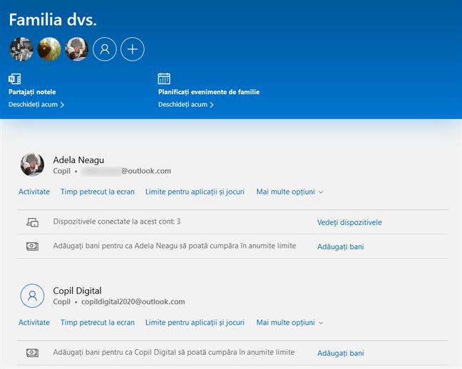 Microsoft oferă o pagină specială unde poți să îți gestionezi familia