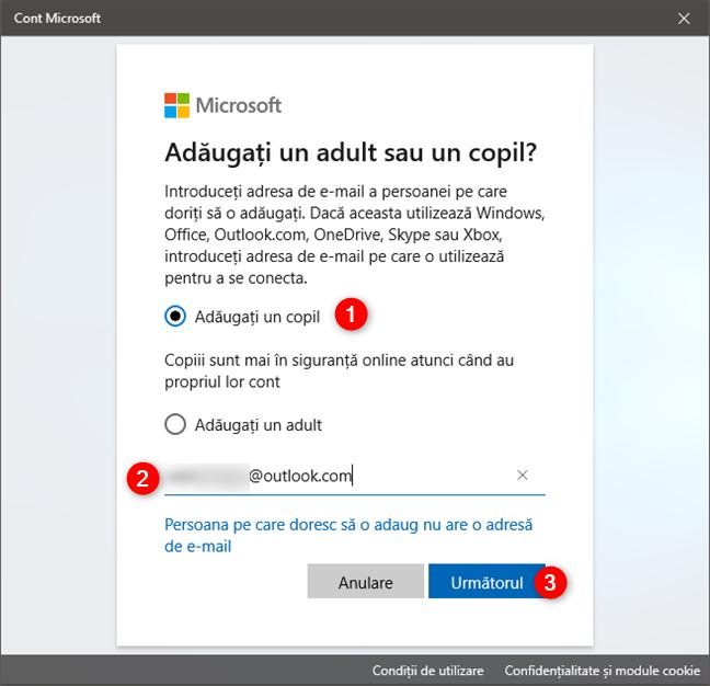 Adăugarea unui copil pe un PC cu Windows 10