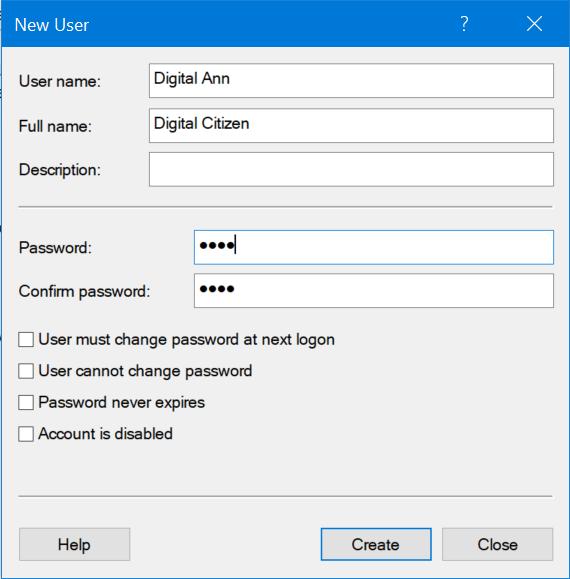 Introdu informația și apasă pe Create pentru a termina de adăugat contul