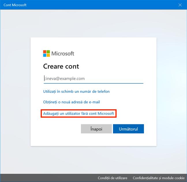 Adaugă un utilizator fără cont Microsoft