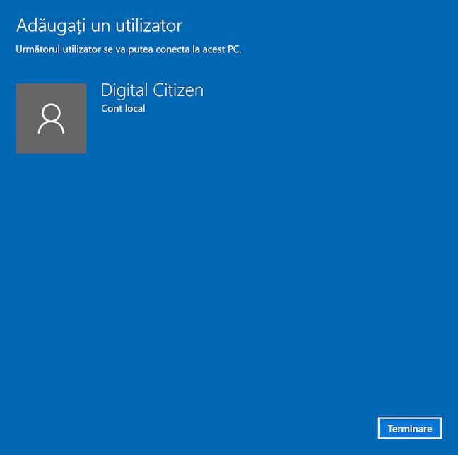Termină procesul de creare a unui utilizator local