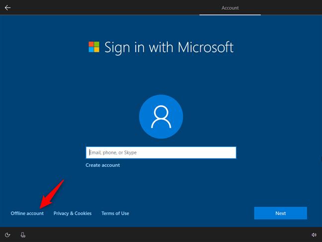 Opțiunea de a folosi un cont offline sau local în loc de unul Microsoft