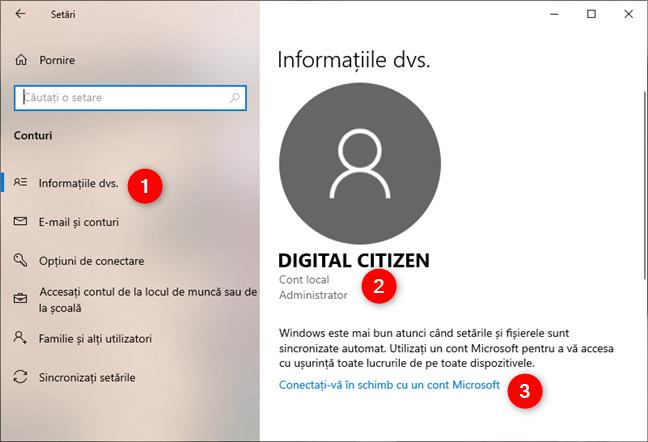 Setările Windows 10 îți arată că folosești un cont local