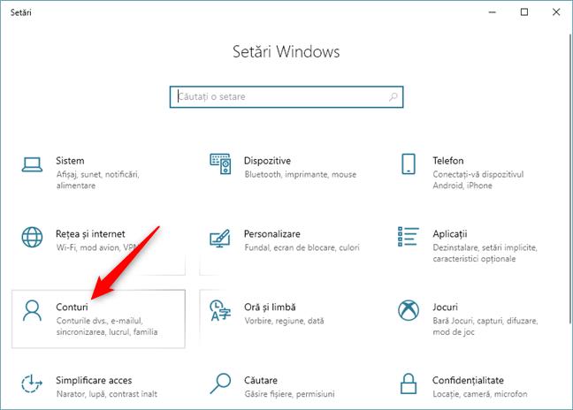Categoria Conturi din Setările din Windows 10