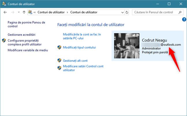 Panoul de control din Windows 10 îți arată că folosești un cont Microsoft