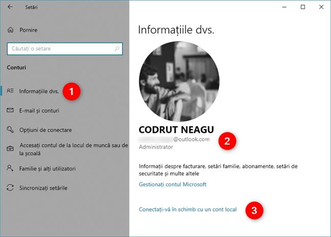 Setările din Windows 10 îți arată că folosești un cont Microsoft