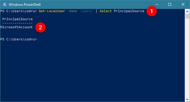 Această comandă PowerShell îți spune ce tip de cont folosești
