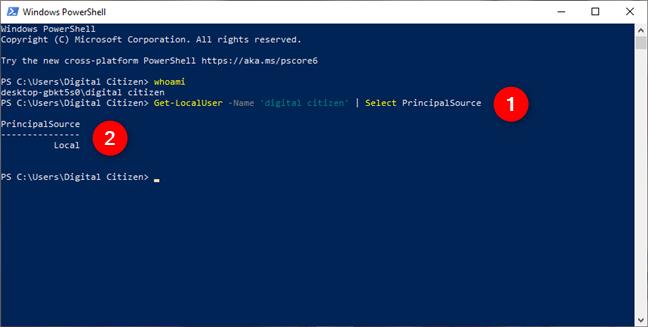 Iată ce îți spune PowerShell dacă folosești un cont local în Windows 10