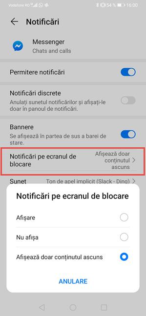 Afișează notificările aplicației Messenger dar ascunde-le conținutul