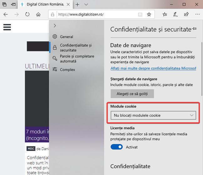 Setări pentru cookie-uri în Microsoft Edge