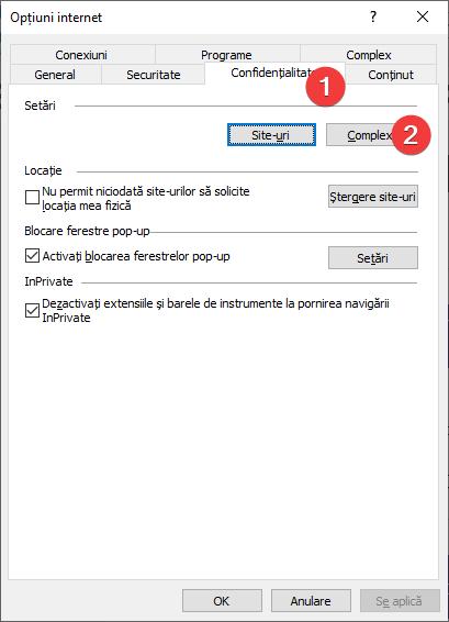 Deschide Setări complexe de confidențialitate în Internet Explorer
